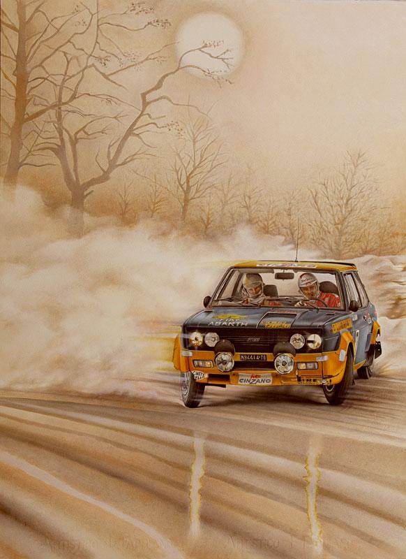 Alen-Kiwimaki-Fiat-Abarth-131Gr.4-Rally-Svezia-1977olio-su-cartoncino-cm-56x77